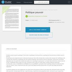 Politique pouvoir - Rapports de Stage - Kobom83