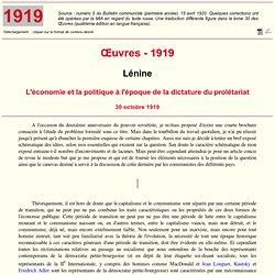 Lénine : L'économie et la politique à l'époque de la dictature du prolétariat (1919)