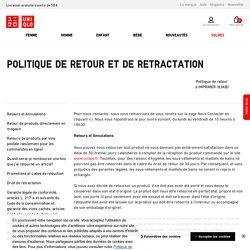 POLITIQUE DE RETOUR ET DE RETRACTATION