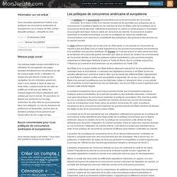 Les politiques de concurrence américaine et européenne - Mon Juriste – Actualité juridique – Actualité du droit