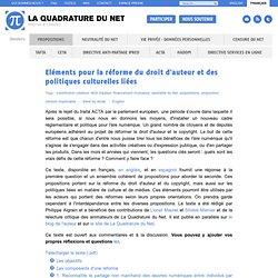 Eléments pour la réforme du droit d'auteur et des politiques culturelles liées