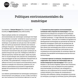 Politiques environnementales du numérique - Centre Internet et Société