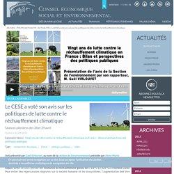 CESE 22/04/15 Le CESE a voté son avis sur les politiques de lutte contre le réchauffement climatique - Séances plénières des 28 et 29 avril
