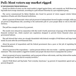 Poll: Most voters say market rigged Chicago Tribune 7/18/14