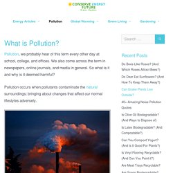 Pollution: Causes and Effects - Conserve Energy Future