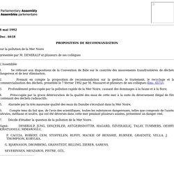 ASSEMBLEE PARLEMENTAIRE 08/05/92 PROPOSITION DE RECOMMANDATION sur la pollution de la Mer Noire