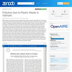International Journal of Multidisciplinary Research - 2019 - Pollution due to Plastic Waste in Vietnam
