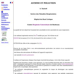 La Pollution principale cause de l'asthme