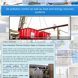 Thermal Recuperative Oxidizers: Best Method to Combat with Pollution