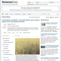 Link between air pollution, increased deaths and increased deaths from heart disease affirmed