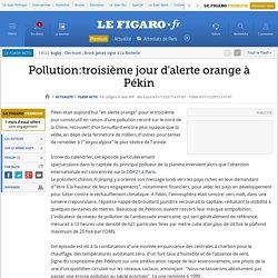 Pollution:troisième jour d'alerte orange à Pékin