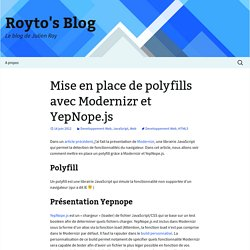 Mise en place de polyfills avec Modernizr et YepNope.js