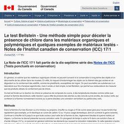 Le test Beilstein - Une méthode simple pour déceler la présence de chlore dans les matériaux organiques et polymériques et quelques exemples de matériaux testés - Notes de l'Institut canadien de conservation (ICC) 17/1 - Canada.ca