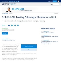 ACR/EULAR: Treating Polymyalgia Rheumatica in 2015