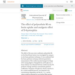 The effect of polysorbate 80 on brain uptake and analgesic effect of D-kyotorphin