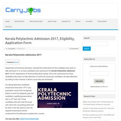 Kerala Polytechnic Admission 2017, Eligibility, Application Form