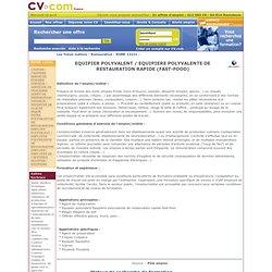 EQUIPIER POLYVALENT / EQUIPIERE POLYVALENTE DE RESTAURATION RAPIDE (FAST-FOOD) - Rome fiche metier 13221