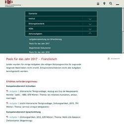 IQB - Pools für das Jahr 2017 — Französisch