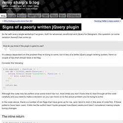 Signs of a poorly written jQuery plugin