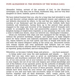 Pope Alexander VI: The Division of the World (1493)