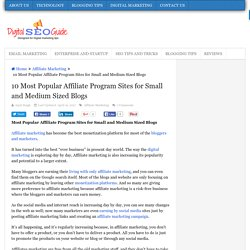 10 Popular Affiliate Program Sites for Small and Medium Sized Blogs