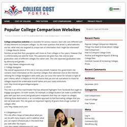 Popular College Comparison Websites