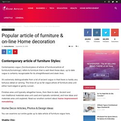 Popular article of furniture & on-line Home decoration
