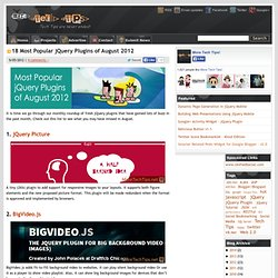18 Most Popular jQuery Plugins of August 2012