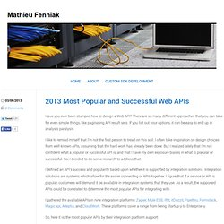 2013 Most Popular and Successful Web APIs