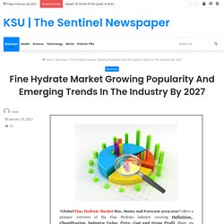 Fine Hydrate Market Growing Popularity And Emerging Trends In The Industry By 2027 – KSU