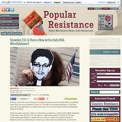 Snowden 2.0: New Active Duty NSA Whistleblower?