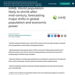 IHME: World population likely to shrink after mid-century, forecasting major shifts in global population and economic power