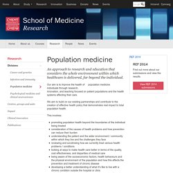 Population medicine - School of Medicine - Cardiff University