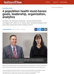 4 population health must-haves: goals, leadership, organization, analytics