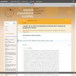 L'apport de la notion de population présente dans l'analyse du peuplement littoral