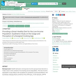 JMU-Providing a Smart Healthy Diet for the Low-Income Population: Qualitative Study on the Usage and Perception of a Designed Cooking App