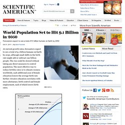 World Population Set to Hit 9.1 Billion in 2050