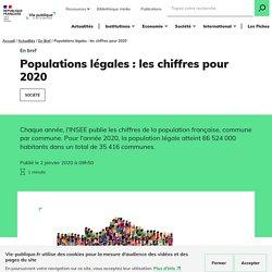 Populations légales : les chiffres pour 2020