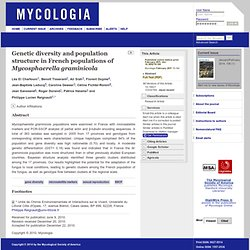 Mycologia 2011;103:764. Genetic diversity and population structure in French populations of Mycosphaerella graminicola