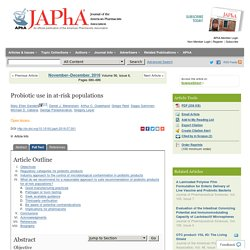Probiotic use in at-risk populations