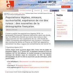 Populations légales, mineurs, surmortalité, espérance de vie des ruraux : des nouvelles de la démographie française