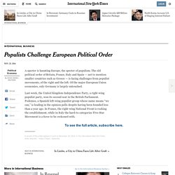 2014/11/23 Populists Challenge European Political Order - NYTimes.com