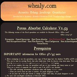 Porous Absorber Calculator V1.59