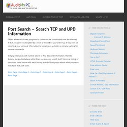 Port Search - Find Ports by Name, Number or Trojan