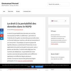 Le droit à la portabilité des données dans le RGPD - Emmanuel Pernot