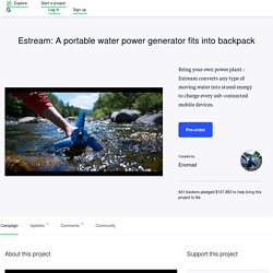 Estream: A portable water power generator fits into backpack by Enomad