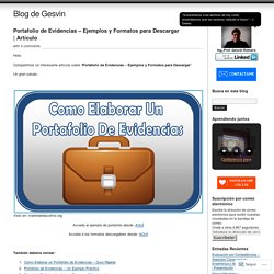 Portafolio de Evidencias – Ejemplos y Formatos para Descargar