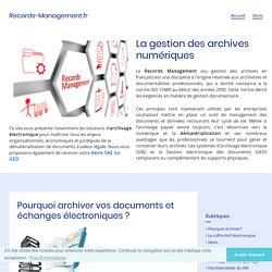 Le portail fran?ais du Records Management