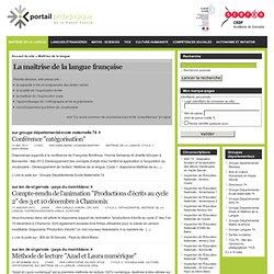 Portail pédagogique de la Haute-Savoie - Maîtrise de la langue