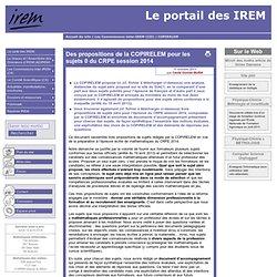 Des propositions de la COPIRELEM pour les sujets 0 du CRPE session 2014